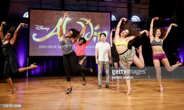 Dancers show their skills during the final casting round for the main characters in the musical 'Aladdin' in Hamburg Germany 11 March 2015 50 singers...