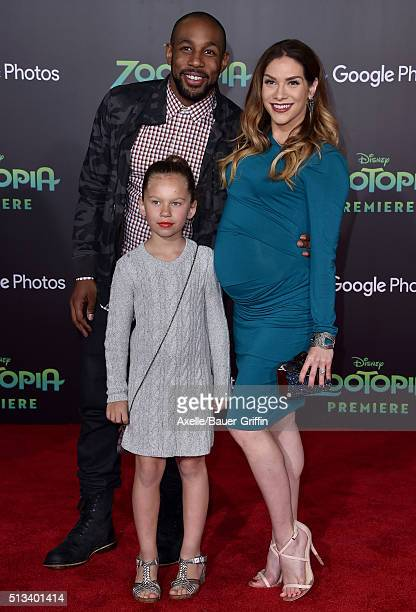 Dancers Stephen 'tWitch' Boss Allison Holker and daughter Weslie Fowler arrive at the premiere of Walt Disney Animation Studios' 'Zootopia' at the El...