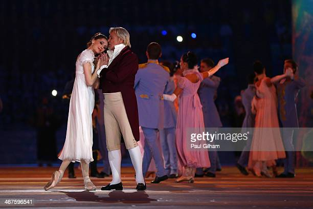 Dancers Svetlana Zakharova and Vladimir Vasiliev perform during the Opening Ceremony of the Sochi 2014 Winter Olympics at Fisht Olympic Stadium on...