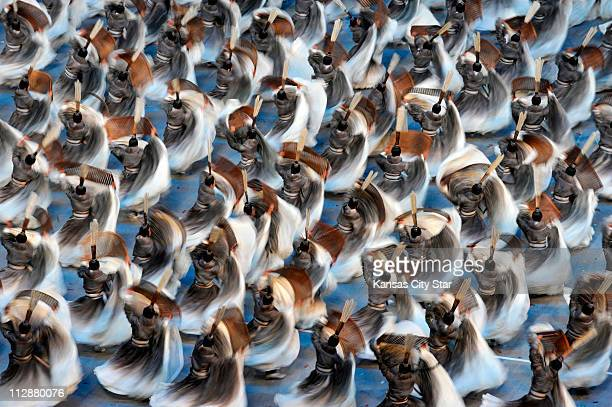 Dancers take part in the National Stadium during the opening ceremony on Friday August 8 to kick of the Games of the XXIX Olympiad in Beijing China