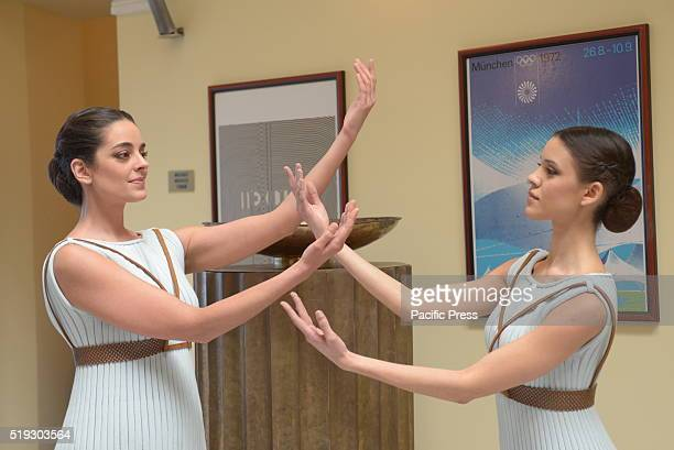 STADIUM ATHENS ATTKI GREECE Dancers that are going to participate in the ceremonies of Olympic Touch and Delivery of the Olympic Flame for Rio 2016...