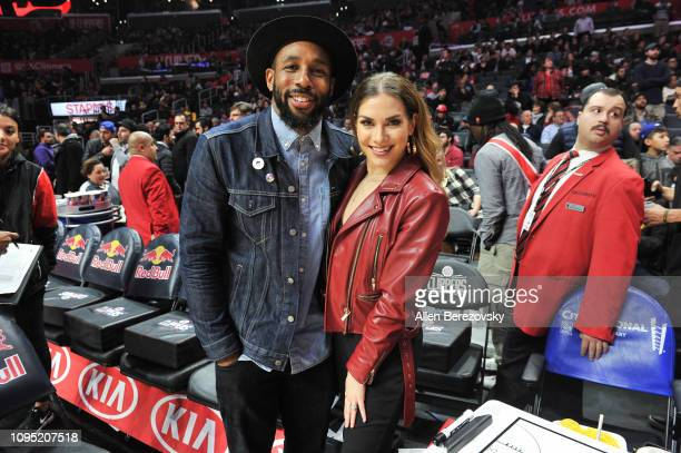 Dancers tWitch and Allison Holker attend a basketball game between the Los Angeles Clippers and the Utah Jazz at Staples Center on January 16 2019 in...