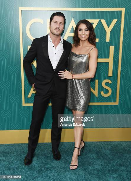 Dancers Val Chmerkovskiy and Jenna Johnson arrive at the Warner Bros Pictures' 'Crazy Rich Asians' premiere at the TCL Chinese Theatre IMAX on August...