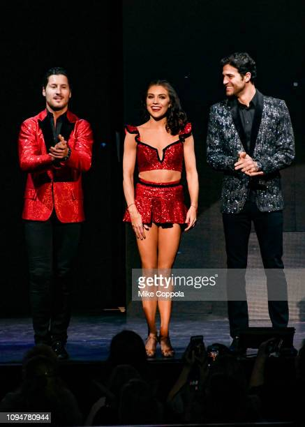 Dancers Valentin Chmerkovskiy Jenna Johnson and Gleb Savchenko perform during Live A Night To Remember New York New York at Radio City Music Hall on...