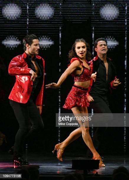 Dancers Valentin Chmerkovskiy Jenna Johnson and Sasha Farber perform during Dancing with the Stars Live A Night To Remember New York New York at...