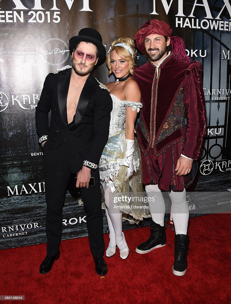 Dancers Valentin Chmerkovskiy, Peta Murgatroyd and Maksim Chmerkovskiy arrive at MAXIM Magazine's Official Halloween Party at a private estate on October 24, 2015 in Beverly Hills, California.