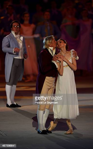 Dancers Vladimir Vasiliev and Svetlana Zakharova perform during the Opening Ceremony of the Sochi 2014 Winter Olympics at Fisht Olympic Stadium on...