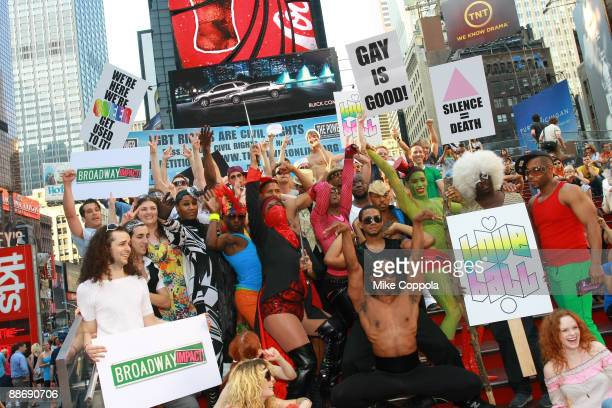 Dancers Voguers Drag Performers and and Sailors from Various Broadway shows attend the 40th Anniversary of the Stonewall Riots in Times Square on...