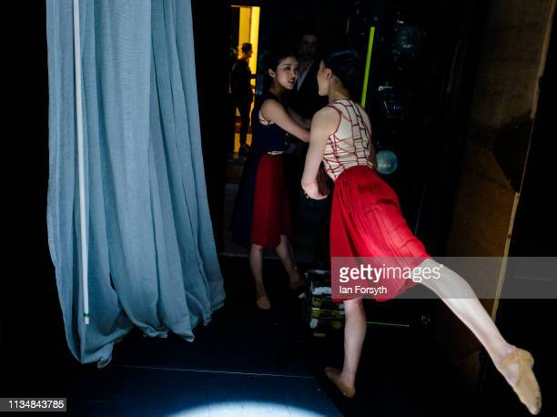 Dancers warms up on stage minutes before the curtain goes up for the World Premier of Northern Ballet's performance of 'Victoria' at Leeds Grand...