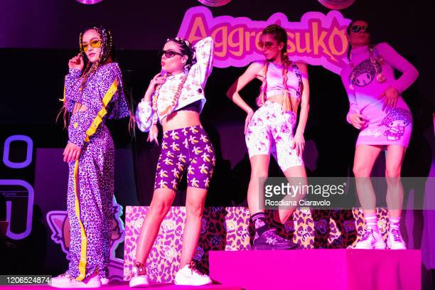 Dancers wearing Elettra Lamborghini Collection Full Looks at the Elettra Lamborghini FW 20 Collection Launch party on February 15 2020 in Milan Italy