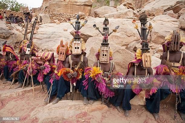 Dancers wearing Kananga mask at the Dama celebration in Tireli Mali