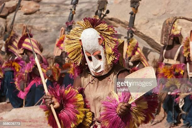 Dancers wearing Kananga masks perform at the Dama celebration in Tireli Mali