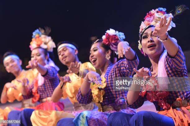Dancers wearing traditional dresses during the Team Presentation of Tour of Langkawi 2018 in Kuah the capital of Langkawi Island On Friday March 16...