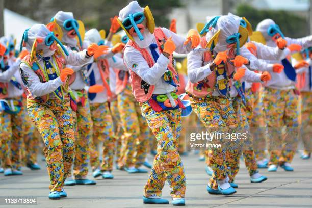 Dancers with a marimonda custom perform during the 'Gran Parada de Comparsas' as part of Barranquilla Carnival 2019 on March 04, 2019 in...