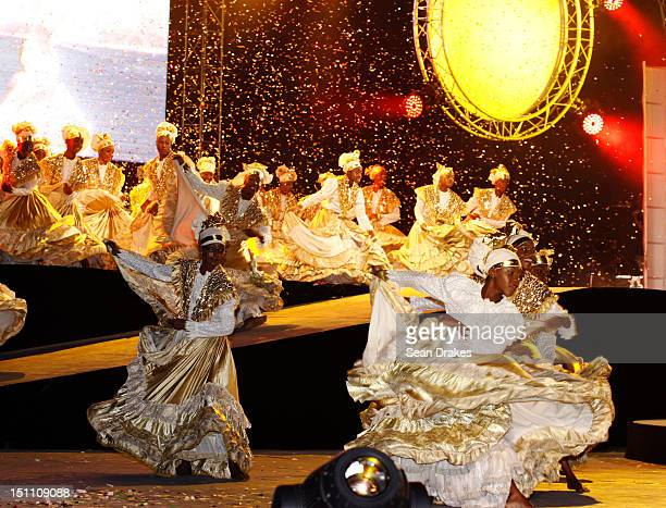 Dancers with different costumes perform during the celebration of Trinidad and Tobago 50 years of independence from British governance on August 31...