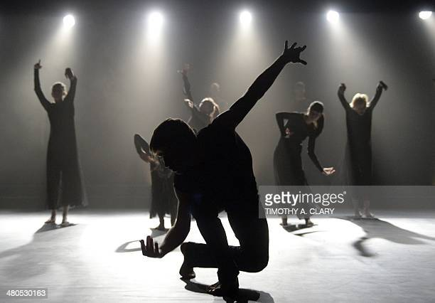 Dancers with the Ballet du Grand Theatre de Geneve perform a scene from Glory during a dress rehearsal before opening night at the Joyce Theater in...