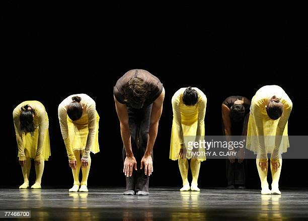 Dancers with the Ballet Du Grand Theatre De Geneve perform ParaDice during a dress rehearsal before opening night 23 October 2007 at the Joyce...