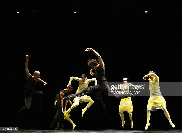 Dancers with the Ballet Du Grand Theatre De Geneve performs ParaDice during a dress rehearsal before opening night 23 October 2007 at the Joyce...