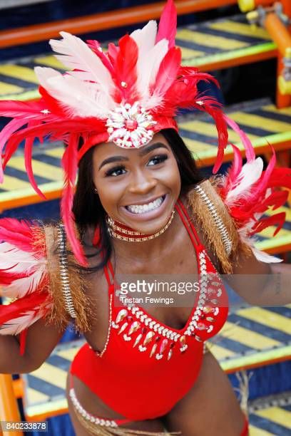 Dancers with the Red Bull Music Academy x Magrove float at Notting Hill Carnival on August 28 2017 in London England