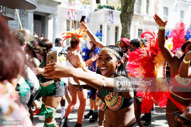 Dancers with the Red Bull Music Academy x Mangrove float at Notting Hill Carnival on August 28 2017 in London England