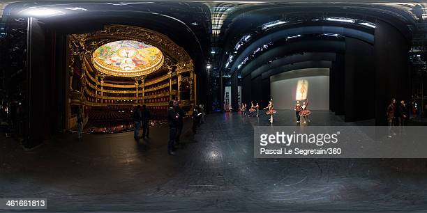 Dancers work on stage during rehearsal for the Generale at the Opera Garnier on April 13 2013 in Paris France