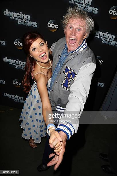 Dancer/TV personality Anna Trebunskaya and actor Gary Busey attend 'Dancing with the Stars' Season 21 at CBS Television City on September 21 2015 in...
