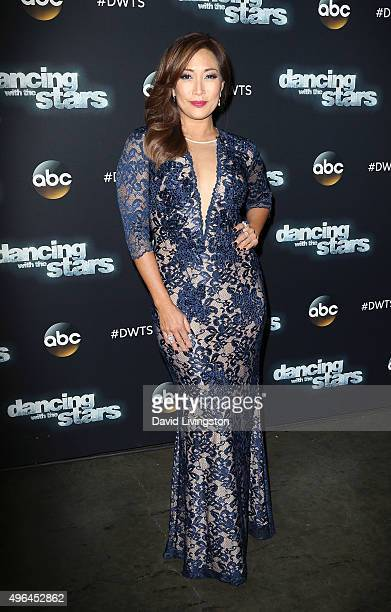 Dancer/TV personality Carrie Ann Inaba attends 'Dancing with the Stars' Season 21 at CBS Televison City on November 9 2015 in Los Angeles California