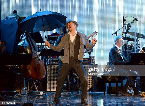 Dancer/TV personality Derek Hough performs onstage during the MPTF 95th anniversary celebration with 'Hollywood's Night Under The Stars' at MPTF...