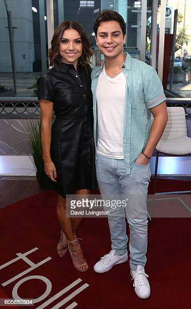 Dancer/TV personality Jenna Johnson and actor Jake T Austin visit Hollywood Today Live on September 15 2016 in Hollywood California