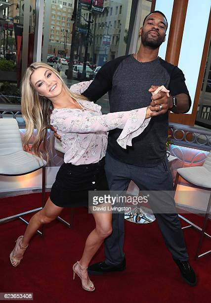 Dancer/TV personality Lindsay Arnold and former NFL player Calvin Johnson visit Hollywood Today Live at W Hollywood on November 16 2016 in Hollywood...