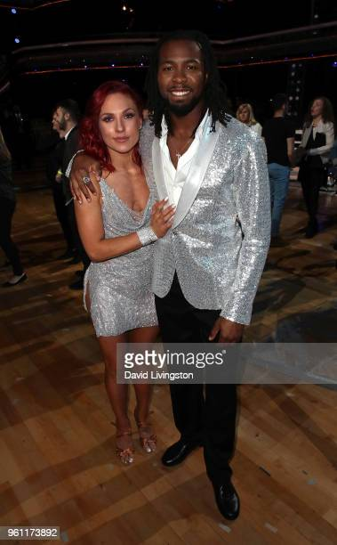 Dancer/TV personality Sharna Burgess and NFL player Josh Norman pose at ABC's 'Dancing with the Stars Athletes' Season 26 Finale on May 21 2018 in...
