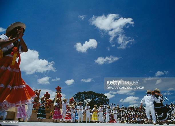 Dances during the celebrations at the Guelaguetza festival Oaxaca Mexico
