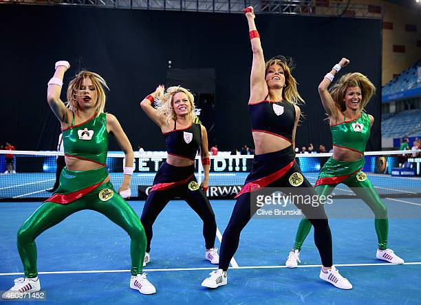 IPTL dances in action during the UAE Royals against the Singapore Slammers during the CocaCola International Premier Tennis League fourth leg at the...