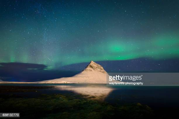 Dancing Aurora KP5 and a Meteor over Mt.Kirkjufell, Iceland
