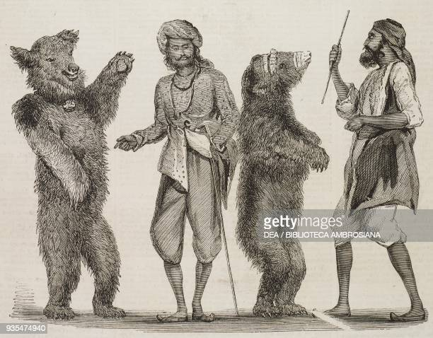 Dancing bears in India, illustration from the magazine The Illustrated London News, volume XXXIV, January 1, 1859.