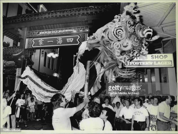 A Dancing Chinese Dragon which wandered down Dixon Street visiting restaurants and entertaining onlookersChinatown was alive with excitement tonight...