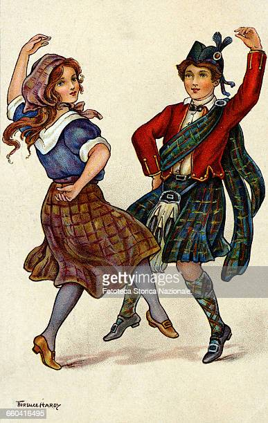 Dancing couple in traditional costume of Scotland Chromolithograph by Florence Hardy United Kingdom London 1914