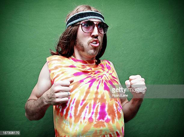 dancing crazy hippy man with mustache - sideburn stock photos and pictures