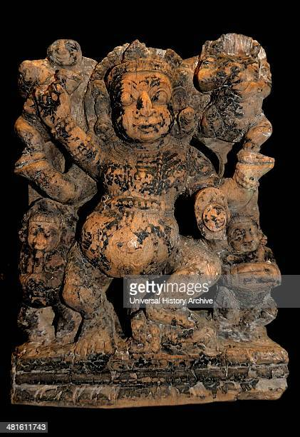 Dancing gana, South India, 17th century AD. Wooden festival chariots carrying images of the gods often bear panels of figured sculpture.