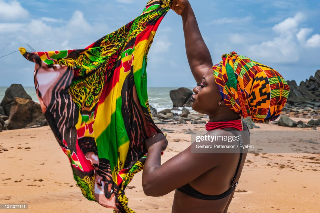 Dancing Ghana Woman On The Beautiful Beach Of Axim, Located In Ghana West Africa : Stock Photo