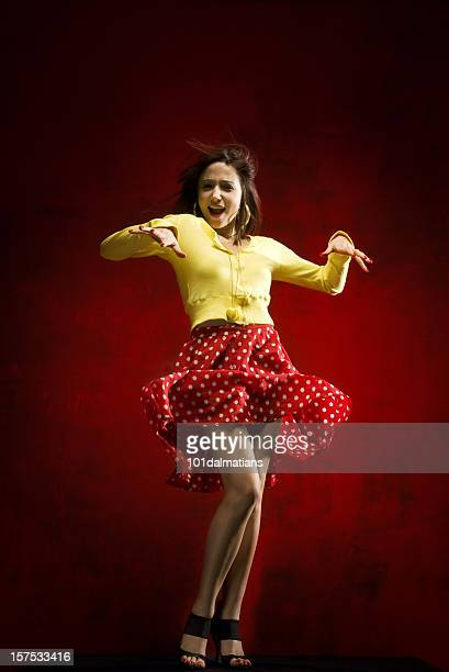 dancing girl - skirt blowing stock photos and pictures