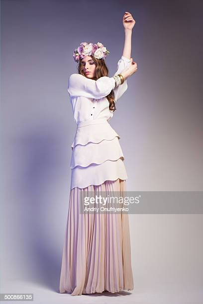 dancing girl - white skirt stock pictures, royalty-free photos & images