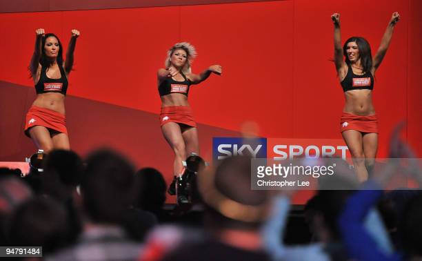 Dancing girls during the 2010 Ladbrokescom World Darts Championship Round One at Alexandra Palace on December 18 2009 in London England