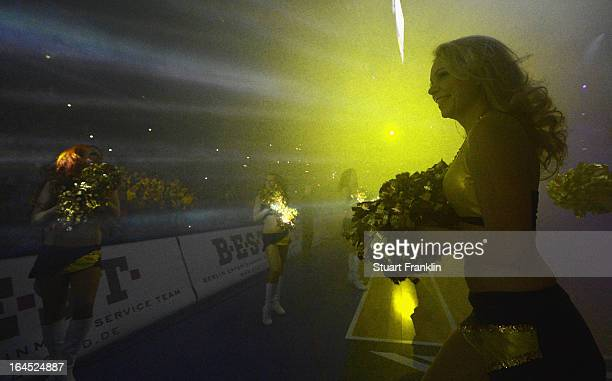 Dancing girls perform during the Beko BBLTop Four final game between Ratiopharm Ulm and Alba Berlin at O2 World on March 24, 2013 in Berlin, Germany.