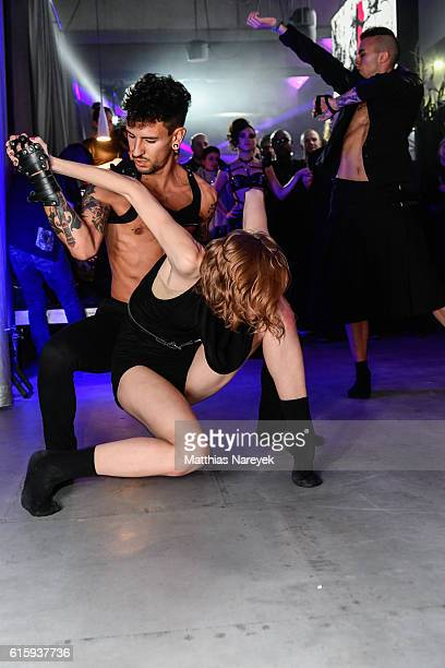Dancing guests attend the Moxy Berlin Hotel Opening Party on October 20, 2016 in Berlin, Germany.