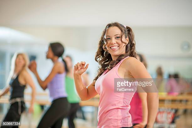 Dancing Happily at a Gym Class