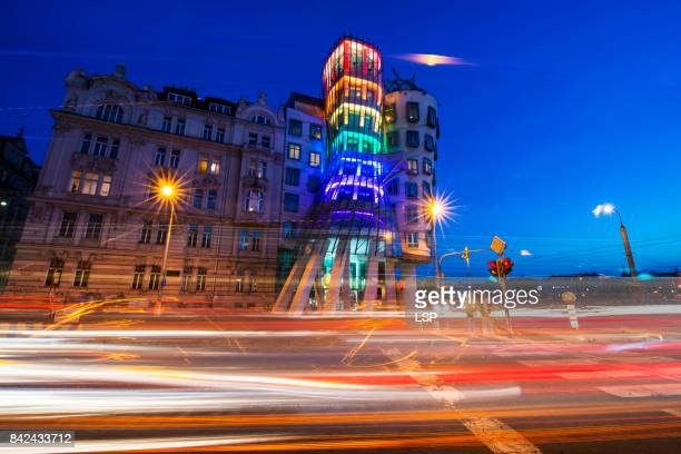 dancing house - vehicle light stock pictures, royalty-free photos & images