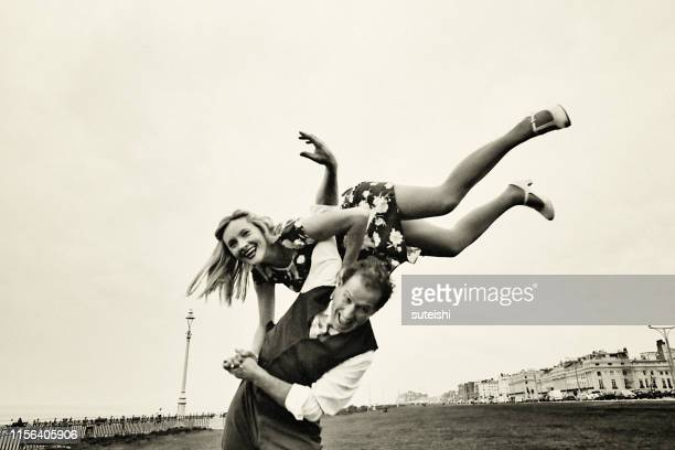 dancing in brighton - retro style stock pictures, royalty-free photos & images