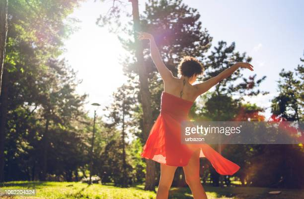 dancing in nature - women spreading their legs stock photos and pictures