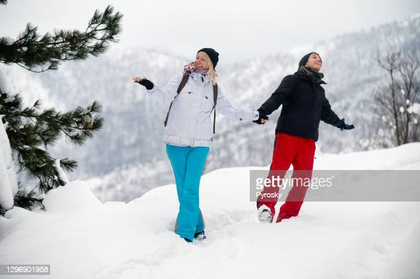 dancing in the snow - fingerless gloves stock pictures, royalty-free photos & images